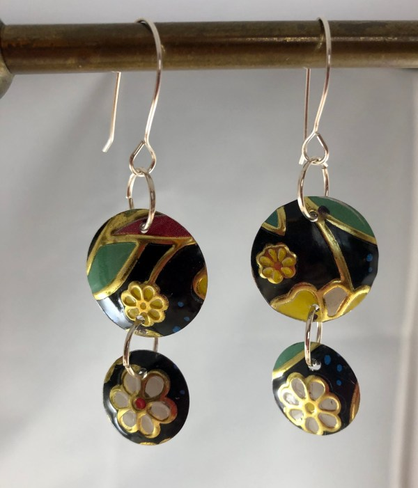 flowered deco earrings