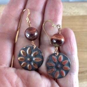red jasper copper sun earrings