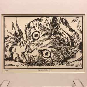 Marble Cake Cat lino cut
