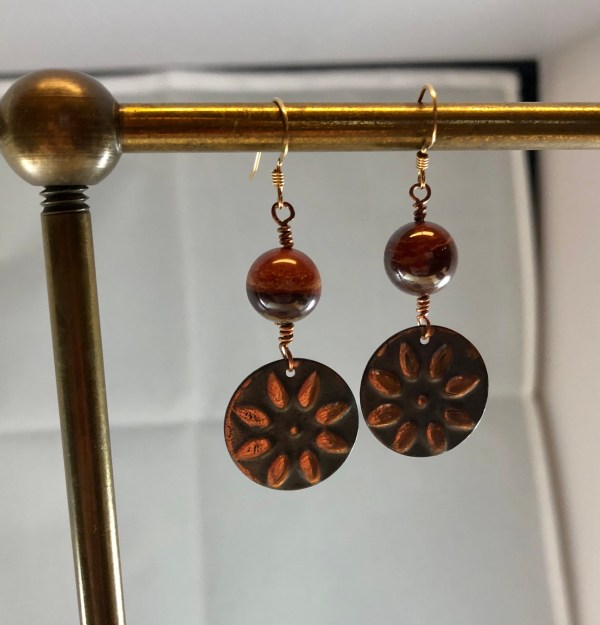 copper red jasper earrings