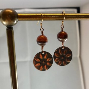 copper red jasper earrings