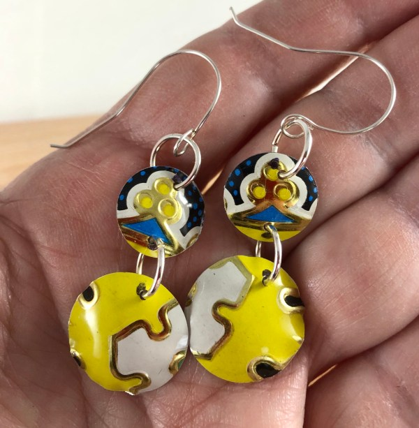 yellow tin earrings sterling wire