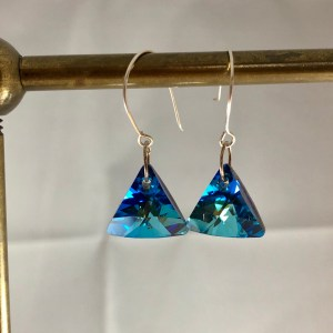 crystal blue earrings sterling