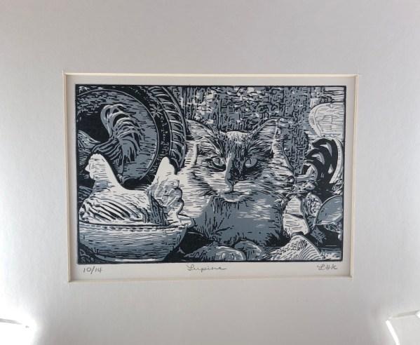 lupine cat linocut print