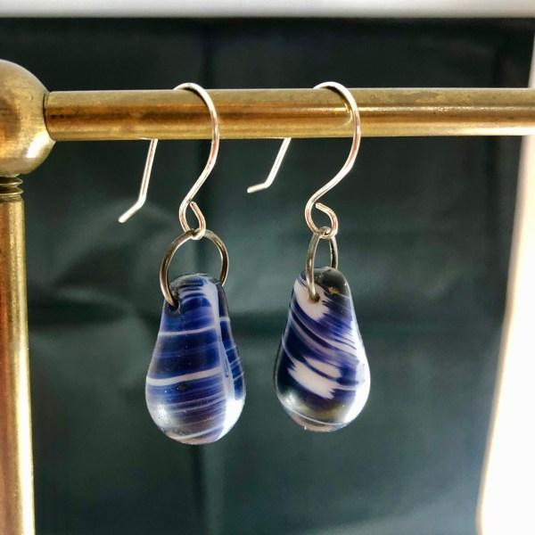 blue swirl earrings sterling