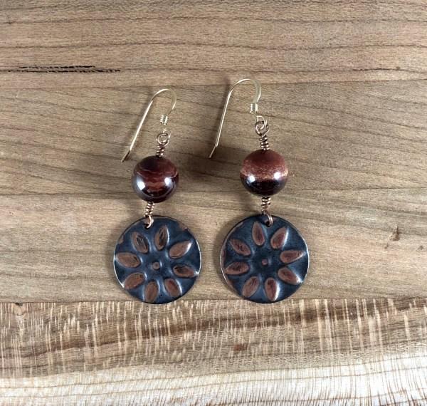 copper sun jasper earrings