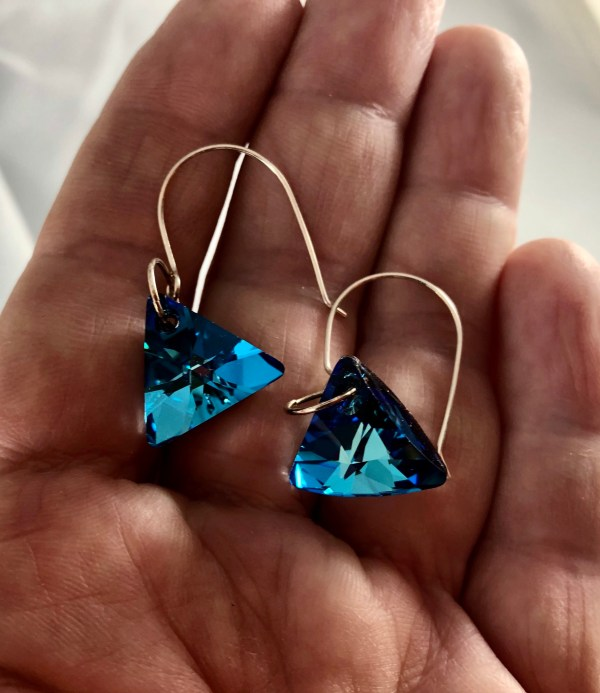 sparkling blue swarovski earrings