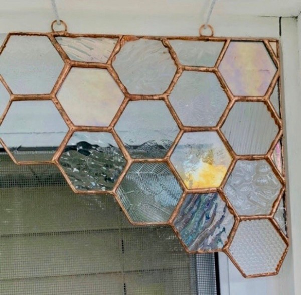 honeycomb bees stained glass