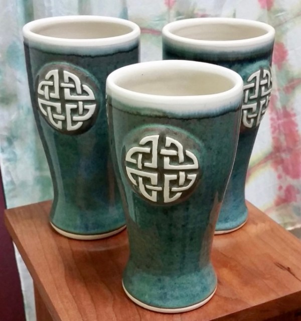 Celtic Irish pottery beer glass