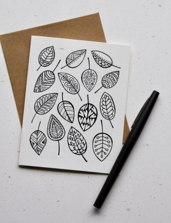 Leaf doodle card