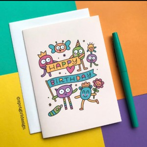 colorful Happy Birthday notecard