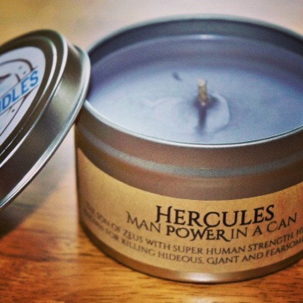 Hercules - Man power in a can , scented candle in a can