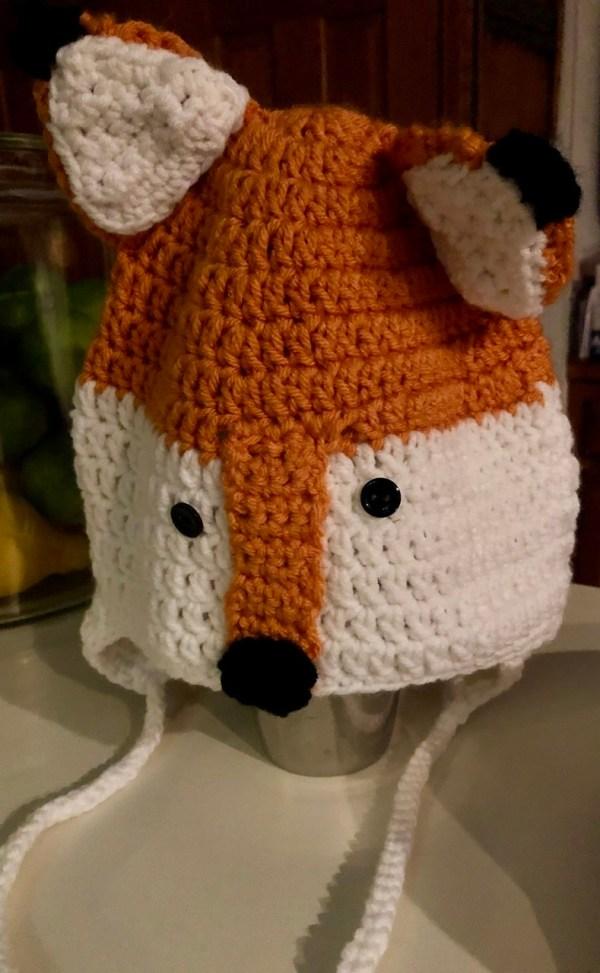 Crocheted Fox hat for kids