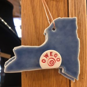 blue ornament Owego New York map pottery