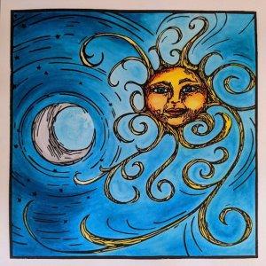 sun moon linocut print