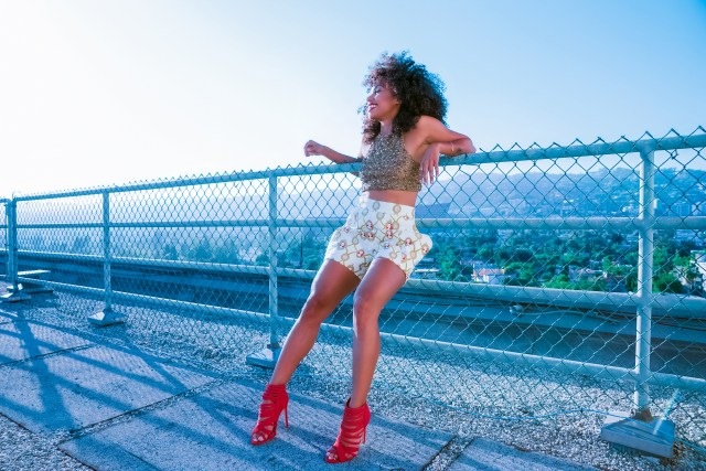 Fashion Credits : Red Heels - AMI Clubwear Beaded Gold Top - Rouba G Printed Parachute Shorts - Queen of Noise