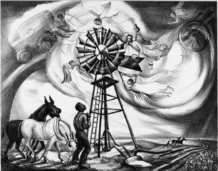 """A lithograph made in 1940 representing the """"'Zekiel Saw the Wheel"""" spiritual. Credit: Talbot Historical Society; Used with permission from The Estate of Ruth Starr Rose"""
