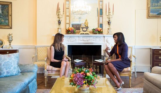 First Lady Michelle Obama met her successor this afternoon, greeting the president-elect's wife Melania Trump at the White House when she arrived and hosting her for tea.