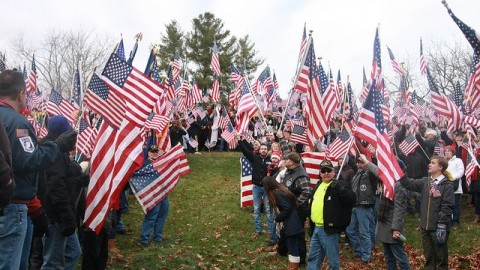 On Sunday November 27th, hundreds of protesters gathered at Hampshire College to protest the decision of the taking down of American flags across campus. (Christina Yacono/Daily Collegian)