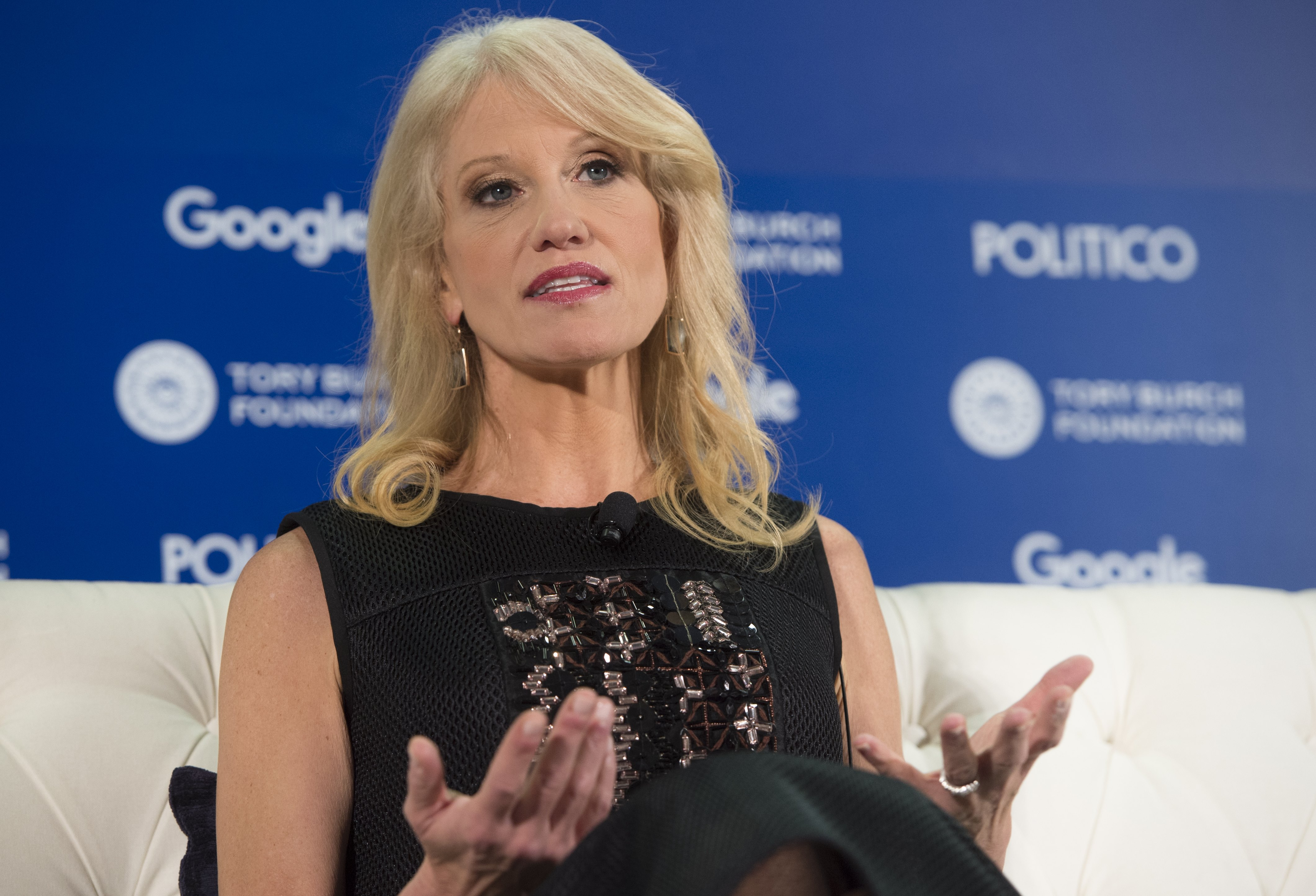 Kellyanne Conway, president and CEO of the Polling Company and the campaign manager of US President-elect Donald Trump's campaign, speaks during the 4th Annual Women Rule Summit in Washington, DC, December 7, 2016. (Photo credit: SAUL LOEB/AFP/Getty Images)