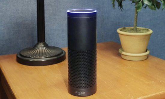 Amazon's Echo smart speaker listens for commands and can carry out tasks such as calling an Uber or turning on lights. Photograph: Mark Lennihan/AP