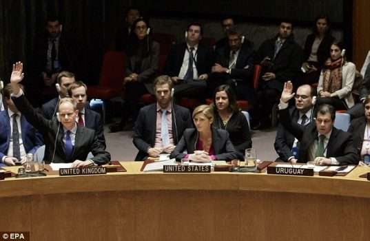 US Ambassador to the United Nations Samantha Power (center) abstained from a vote condemning Israeli settlements on Friday, ending America's longstanding practice of vetoing such measures.