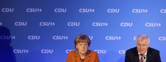 German Chancellor and Chairwoman of the German Christian Democrats (CDU) Angela Merkel (L) and Bavarian Governor and Chairman of the Bavarian Christian Democrats (CSU) Horst Seehofer address the media during a press conference after a two-day meeting of the two parties on February 6, 2017 in Munich, Germany.