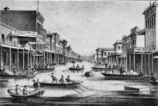 Sacramento underwater due to floods in an 1862 rendering that ran in local papers.