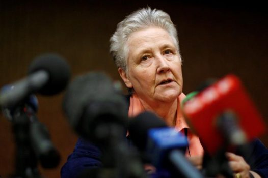 FILE PHOTO: Irish abuse victim Marie Collins talks during a news conference in downtown Rome February 7, 2012. REUTERS/Tony Gentile