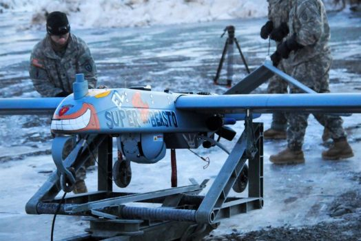 Paratroopers prepare an RQ7 Shadow unmanned aircraft system for launch on Forward Operating Base Sparta on Joint Base Elmendorf-Richardson, Alaska, Jan. 30, 2014. A Shadow RQ-7Bv2 unmanned aircraft went missing for 10 days after it was launched from southern Arizona on Jan. 31. (DEPARTMENT OF DEFENSE)