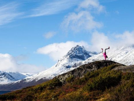 A girl stands on her hands near Vang, Norway. Svein Nordrum/NTB Scanpix/via REUTERS