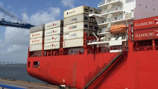 Shipping containers onboard a cargo ship at the Port of Charleston, South Carolina. (Meghan Reeder | CNBC)