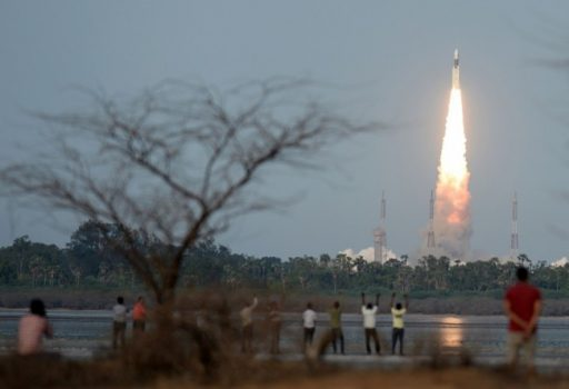 The Geosynchronous Satellite Launch Vehicle lifts off from the southern Indian island of Sriharikota on June 5. (Arun Sankar/AFP via Getty Images)
