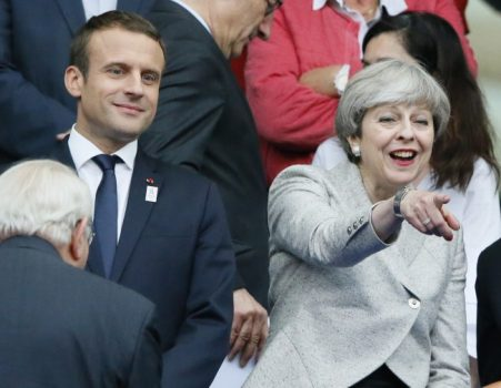 French President Emmanuel Macron and Britain's Prime Minister Theresa May attend a friendly soccer match between France and England at the Stade de France in Saint Denis, north of Paris, France, Tuesday, June 13, 2017. After their talks at the Elysee Palace, the two leaders watch a France-England football match that will honor victims of extremist attacks in both countries. (Associated Press)