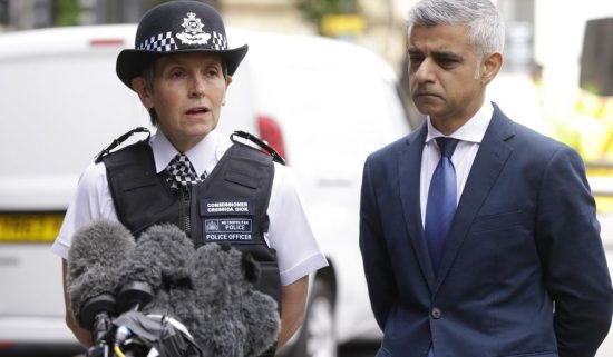 London Police Commissioner Cressida Dick, left, and the Mayor of London Sadiq Khan, participate in a media conference at London Bridge in London, Monday, June 5, 2017.