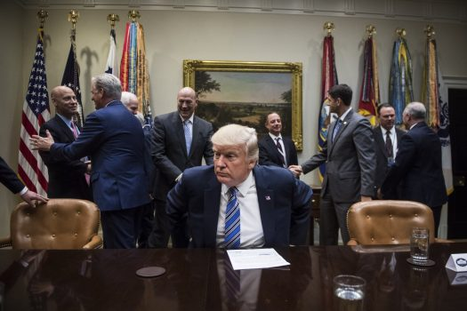 President Trump takes his seat during a meeting with the House and Senate leadership in the White House Tuesday. (Jabin Botsford/The Washington Post)