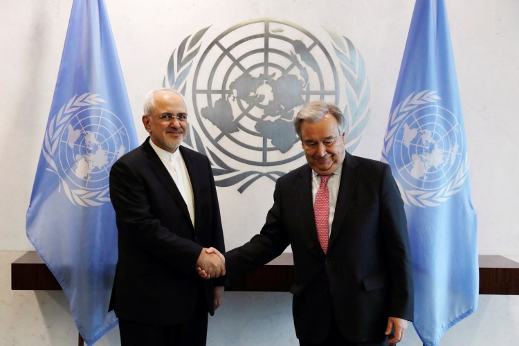 Iranian Foreign Minister Mohammad Javad Zarif greets U.N. Secretary General António Guterres at the U.N. headquarters in New York on Monday. (Lucas Jackson/Reuters)