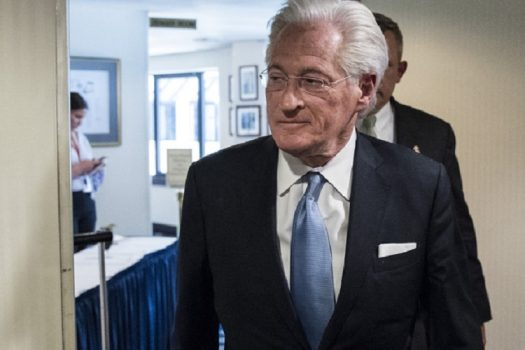 Marc Kasowitz arrives at a press conference on June 8, after the testimony of fired FBI Director James Comey. (Zach Gibson/Bloomberg via Getty Images)