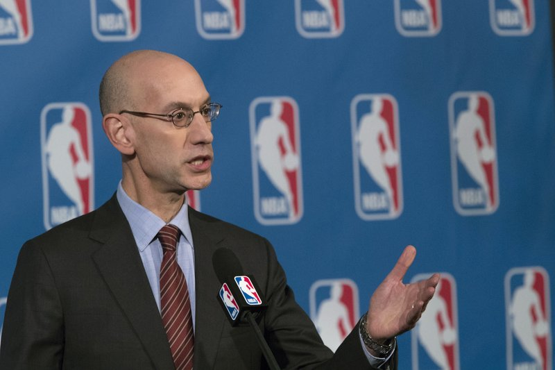 "FILE - In this Oct. 21, 2016, file photo, NBA Commissioner Adam Silver speaks to reporters during a news conference, in New York. An NBA delegation, led by Silver, is in Israel as part of ""Basketball Without Borders,"" a program that hosts training camps for top teenage players throughout the world. (AP Photo/Mary Altaffer, File)"