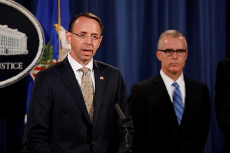 Deputy Attorney General Rod Rosenstein speaks during a news conference announcing the takedown of the dark web marketplace AlphaBay, at the Justice Department in Washington, U.S., July 20, 2017. REUTERS/Aaron P. Bernstein