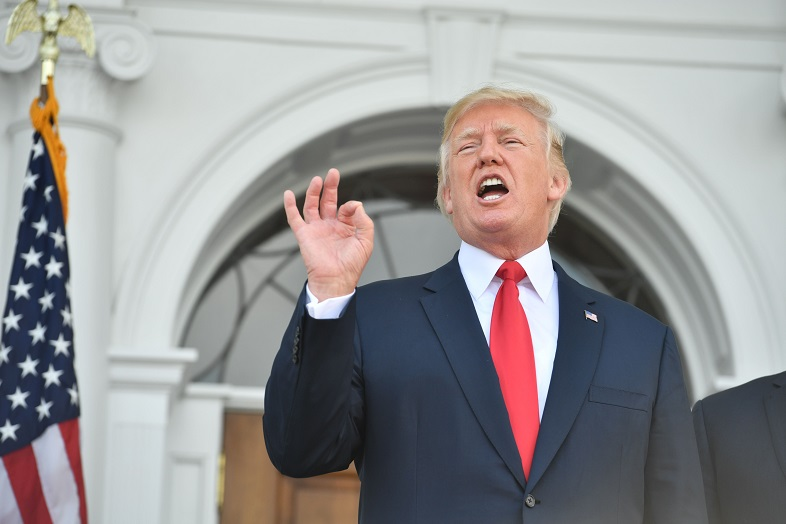 US President Donald Trump speaks to the press on August 10, 2017, at his Bedminster National Golf Club in New Jersey before a security briefing. / AFP PHOTO / Nicholas Kamm