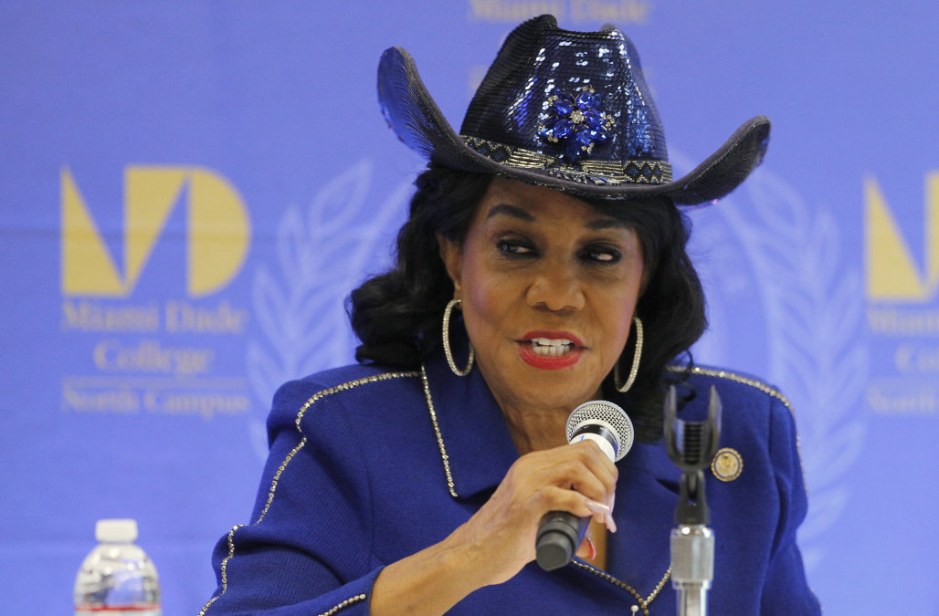 MIAMI, FL - OCTOBER 19: Rep. Frederica Wilson (D-FL) speaks at a Congressional field hearing on nursing home preparedness and disaster response October 19, 2017 in Miami, Florida. The hearing comes in the wake of fourteen patient deaths at the Rehabilitation Center at Hollywood Hills, Florida, which lost power after Hurricane Irma struck Florida. The nursing home deaths remain under police investigation.  (Photo by Joe Skipper/Getty Images)
