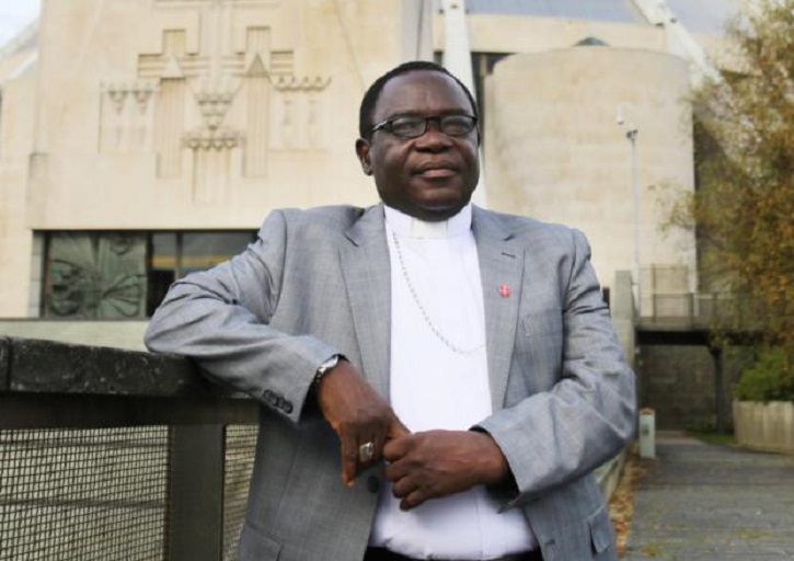 Bishop Matthew Kukah of Sokoto, Nigeria, poses for a photo in Liverpool, England, Oct. 10. He claimed that the loss of faith in the West is causing the decline of the Catholic Church in Nigeria. (CNS photo/Simon Caldwell)
