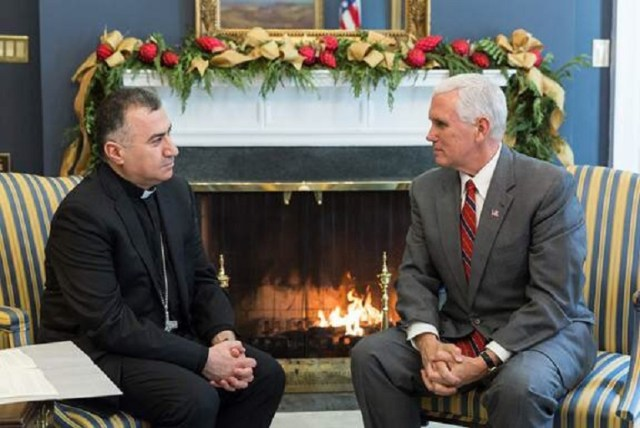 United States Vice President Mike Pence meets with Chaldean Archbishop of Erbil Bashar Warda in Washington, D.C. on December 4, 2017.