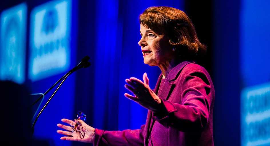 Sen. Dianne Feinstein tries to connect with the delegates at her state's Democratic Convention on Feb. 24, 2018, in San Diego. | Denis Poroy/AP Photo