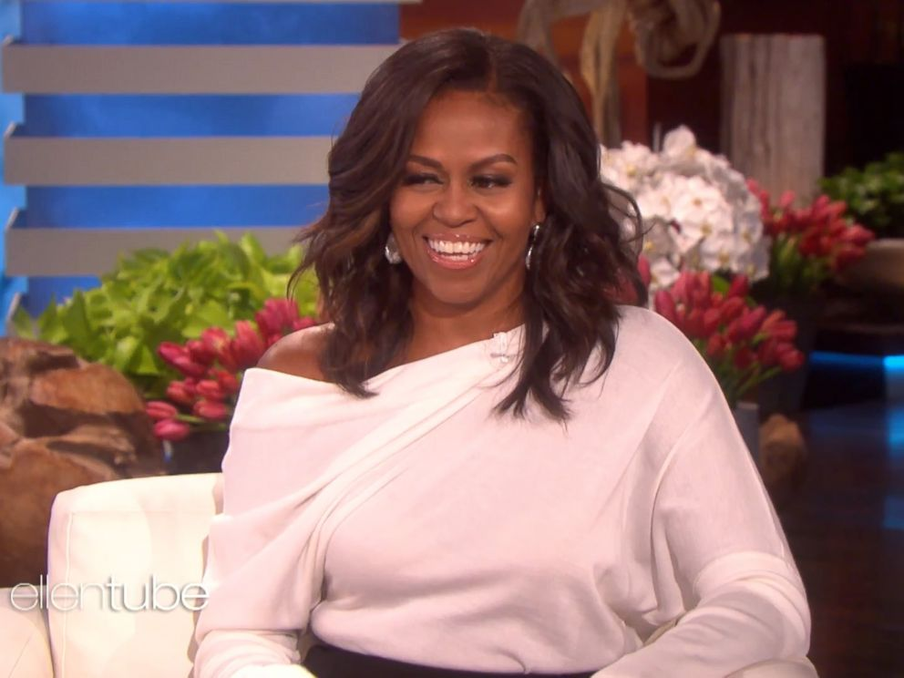 "Michelle Obama makes a guest appearance on ""The Ellen DeGeneres Show,"" Feb. 1, 2018."