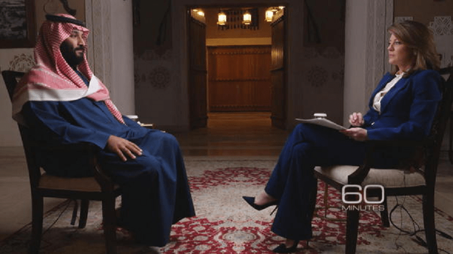 Crown Prince Mohammed bin Salman and Norah O'Donnell (CBS NEWS)
