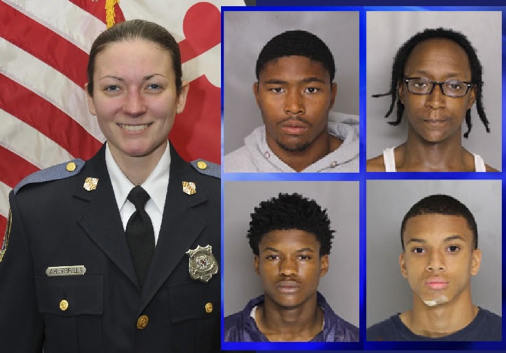 Officer Amy S. Caprio, and the four young men charged with her murder: Darrell Ward, 15, Derrick Matthews, 16, Eugene Genius, 17, and Dawnta Anthony Harris, 16.