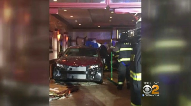 A car backed into a restaurant in Mamaroneck, N.Y., on May 6, 2018. (Photo via Twitter: @talkofthesound)