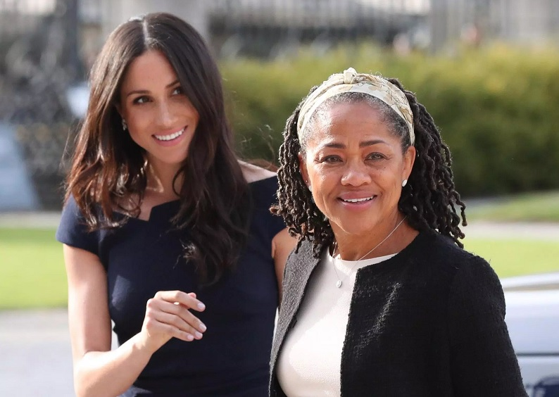 Meghan Markle, left and her mother, Doria Ragland, arrive at Cliveden House Hotel, in Berkshire, England, Friday, May 18, 2018 to spend the night before her wedding to Prince Harry on Saturday. (Steve Parsons/Pool Photo via AP)
